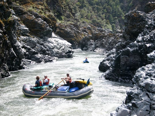Rafters enter Mule Creek Canyon in the Rogue River.