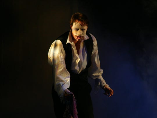 "John Smitherman as the phantom in ""Phantom"" at the Broadway Theatre of Pitman."