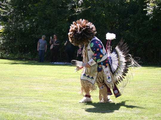 A performer at Native American Day at the Matilda and Karl Pfeiffer Museum and Study Center in Piggott.