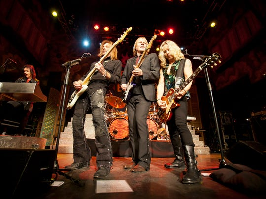 Keyboardist Lawrence Gowan, bassist Ricky Phillips, guitarist/vocalist James Young and guitarist/vocalist Tommy Shaw of Styx performs at the House of Blues on January 13, 2012 in New Orleans, Louisiana.