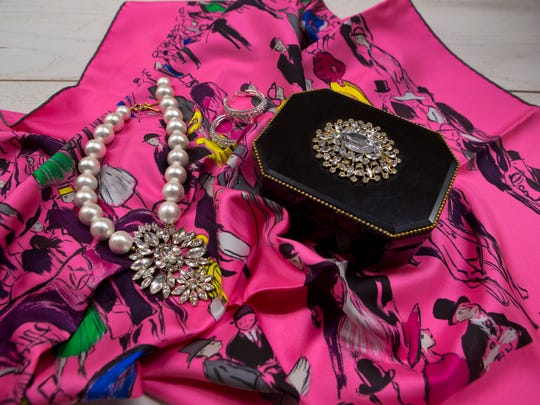 An Hermes scarf and jewelry. Some of Mary Beth Boone's favorite items. Mrch 2, 2017.