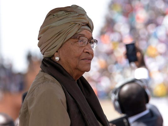 Liberia's president Ellen Johnson Sirleaf looks on during the inauguration ceremony for the start of Gambian President Adama Barrow's presidency at the Independence Stadium in Bakau on Feb. 18, 2017.
