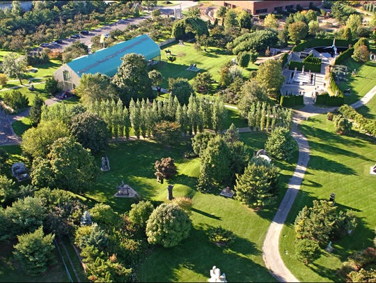 A recent aerial view of Grounds For Sculpture  in Hamilton