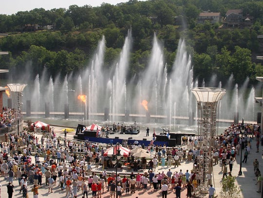 A file photo of Branson Landing's main square during