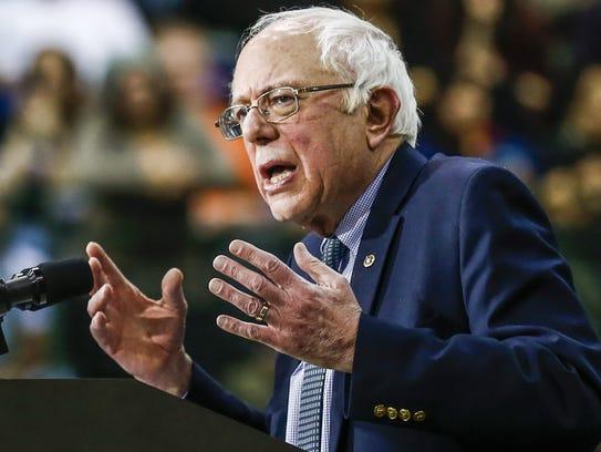 Sen. Bernie Sanders, I-Vt., speaks at a Democratic