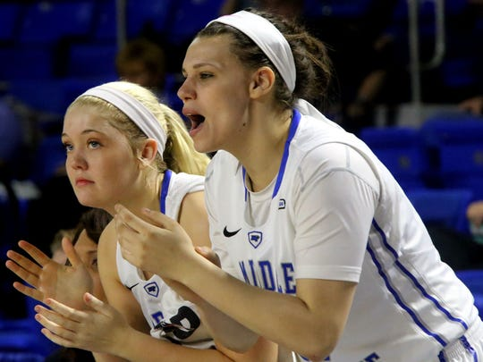 MTSU rising sophomores Rebecca Reuter and Gabby Lyon will anchor the MTSU women's basketball team's inside post in 2015-16.