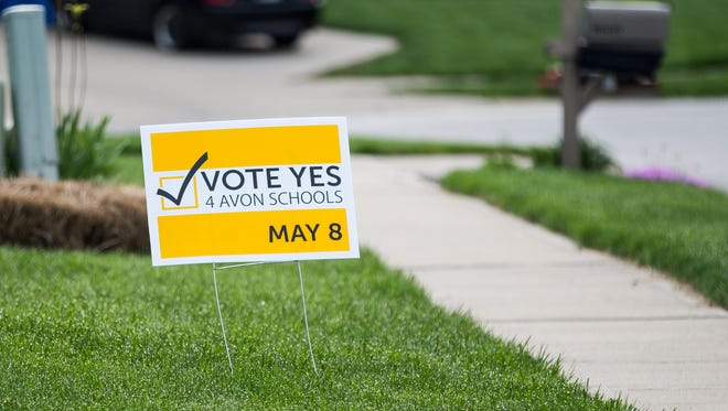 A political sign sits in a yard in Avon, Ind., on Monday, May 7, 2018.