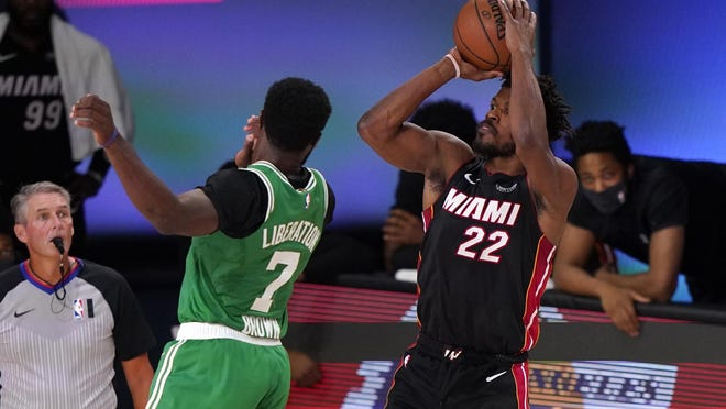Miami Heat's Tyler Herro takes a shot over Boston Celtics' Robert Williams III during the first half of Game 4 of the Eastern Conference finals on Wednesday night. Herro had 37 points in the Miami win.