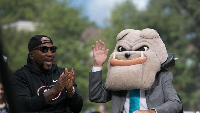 """Lee Corso and Guest Picker """"Jeezy"""" at ESPN College Game Day before the start of an NCAA football game between Georgia and Notre Dame in Athens, Ga., on Saturday, Sept. 21, 2019."""