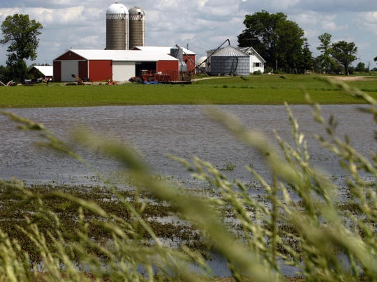 A farm field on Seiler Road in the Town of Eldorado remains flooded, Tuesday, June 10, after severe rain storms hit the Fond du Lac area last weekend.