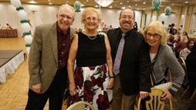 Among the attendees at the annual Fashion Show Luncheon & Tricky Tray fundraiser were (left to right) COO Jeffrey Lampl, event co-chair Lydia Allen, President Frank Brady and Marge Hussey, a member of the Board of Trustees and the event's ad journal co-chair.
