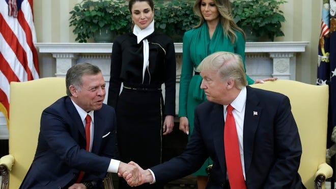 President Trump, King Abdullah, first lady Melania Trump and Queen Rania.