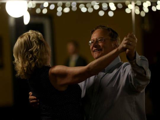 Gordon Toleman and his wife Cynthia Toleman during ballroom dancing class at Rochester Dance Lessons. Gordon's heart went in to cardiac arrest, but he is now back on his feet.