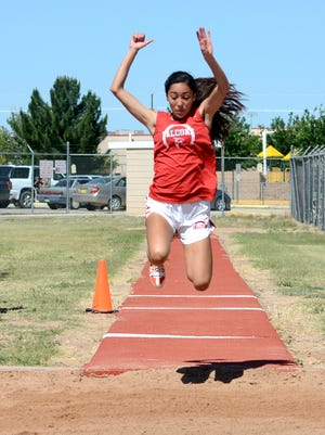 Loving's Liana Rodriguez competes in the girls triple jump during the District 4-3A championships on Saturday, April 30, 2016. The Falcons open the new season March 9 at the Artesia Bulldog Relays.