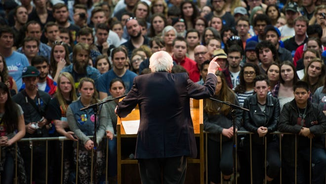 Presidential candidate Bernie Sanders addresses the crowd at Moby Arena on a campaign stop in Fort Collins Sunday, February 28, 2016.