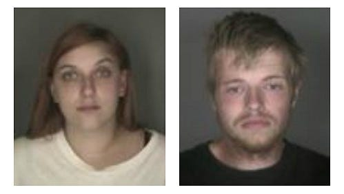 From left, Shelby Hodge, 22, and Carl Jones Jr., 23, both of Ontario, Wayne County,