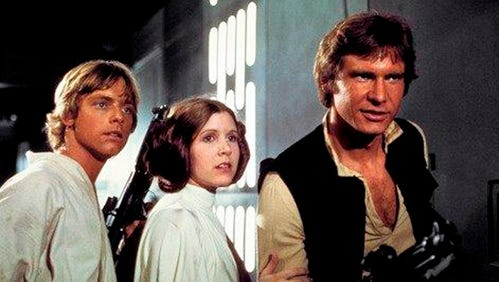 "This photo provided by Twentieth Century Fox Home Entertainment shows, Mark Hamill, from left, as Luke Skywalker, Carrie Fisher as Princess Leia Organa, and Harrison Ford as Han Solo in the original 1977 ""Star Wars: Episode IV - A New Hope."" The  four-day Star Wars Celebration kicked off Thursday, April 13, 2017 in Orlando, Fla., marking the 40-year anniversary of Lucas' space saga."