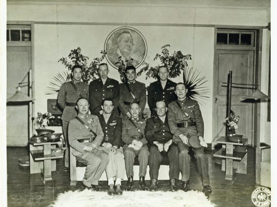 Gen. Ta-Chun Chien, sitting far right, was close to China's nationalist party leader Generalissimo Chiang Kai-Shek, seated middle, and Claire Chennault of the Flying Tigers, seated second from left.