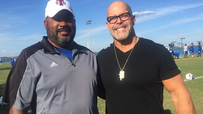 Tennessee State coach Rod Reed, left, a former Tigers middle linebacker, and former Vanderbilt middle linebacker Chris Gaines were two of the nation's top tacklers in 1987.