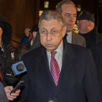 Former New York Assembly Speaker Sheldon Silver exits Manhattan federal court following his conviction on corruption charges Monday in New York.
