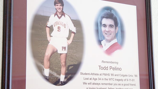 The Todd Pelino Memorial at Pittsford Mendon High School. Pelino was killed in the Sept. 11 attacks on the World Trade Center.