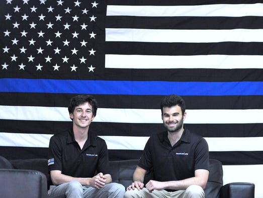 Thin Blue Line  vice president Pete Forhan, 21, left,