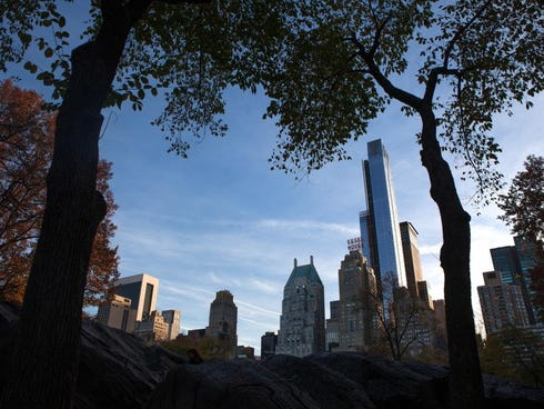 The view of One57, the tall apartment tower across from Carnegie Hall on 57th Street, from Central Park.
