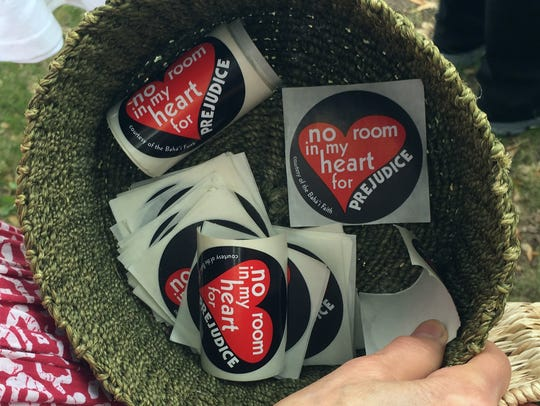 "Stickers that read ""No room in my heart for prejudice"""