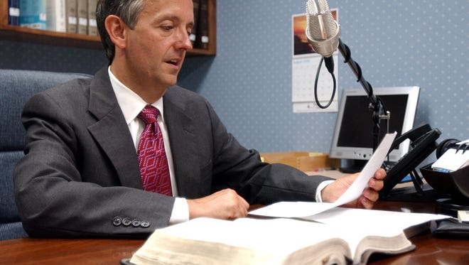Robert Jeffress records talks for his radio program in this 2006 file photograph, when he was pastor at First Baptist Church in Wichita Falls. He delivered a sermon Friday morning at a private prayer service attended by President Donald Trump and Vice President Mike Pence.