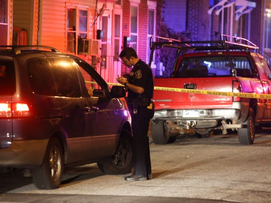 Wilmington police investigate a shooting on the 400 block of Townsend Street in the Southbridge neighborhood shortly after midnight Thursday.