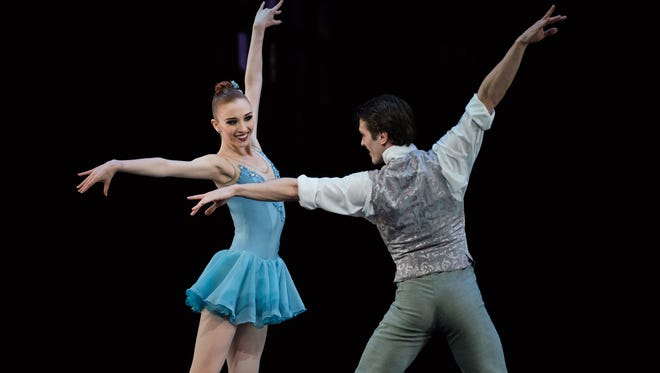 """Cincinnati Ballet dancers Serena Søvdsnes and Patric Palkens perform in George Balanchine's """"Who Cares?"""" as part of a joint program with BalletMet Columbus at the Aronoff Center on March 18-19."""