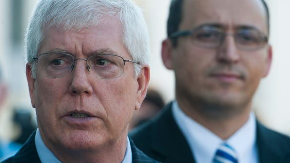 Roy Moore's attorneys Mat Staver, left, and Horatio