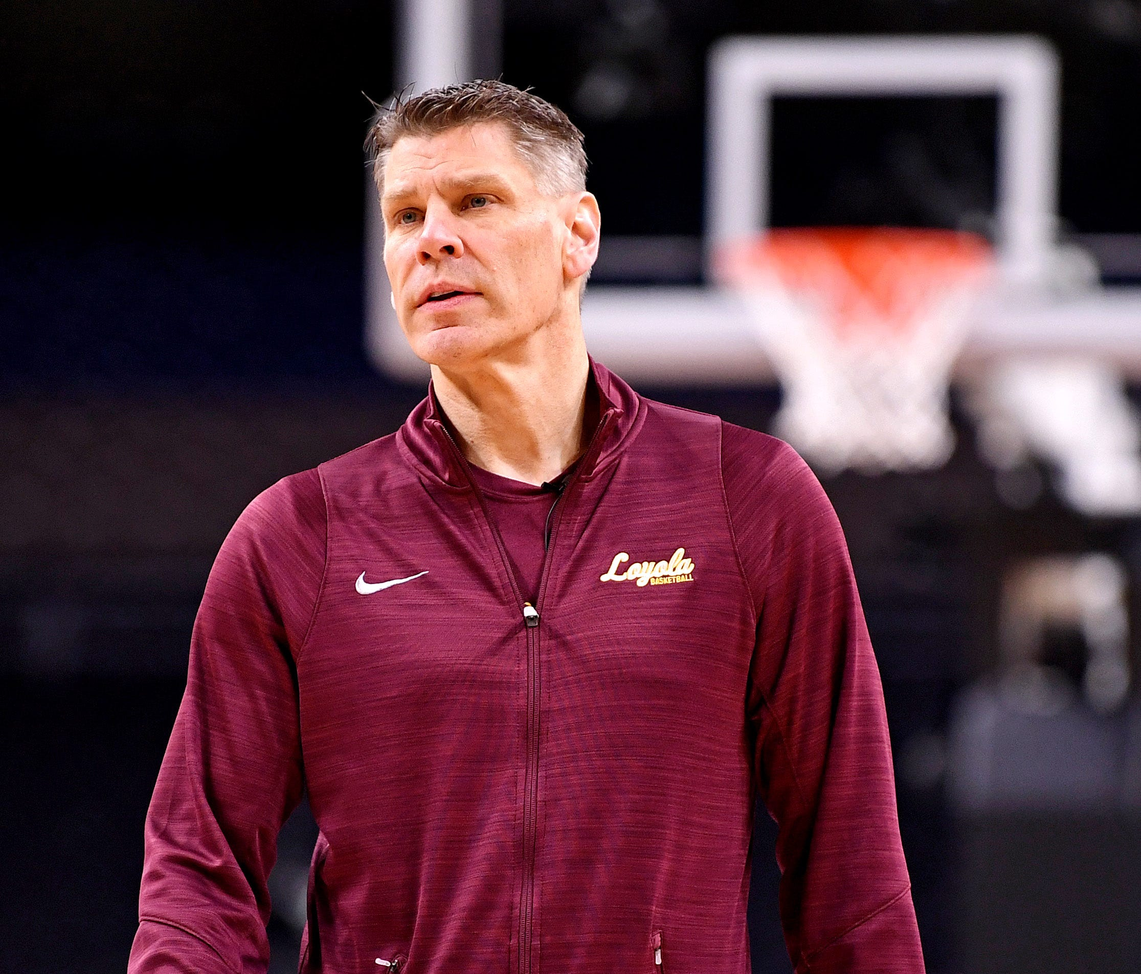 Loyola Ramblers head coach Porter Moser during practice before the Final Four of the 2018 NCAA Tournament at Alamodome.
