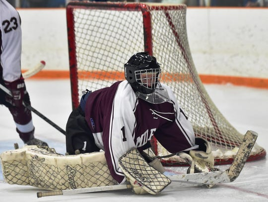 Milford senior goalie Vinnie Szerlag returns between