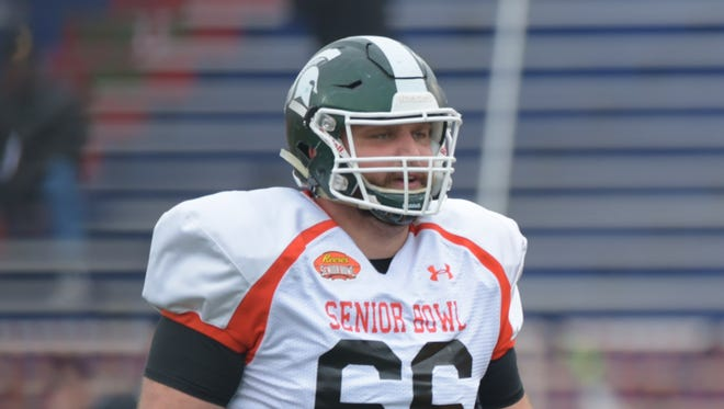 Jack Allen of Michigan State practices at the Senior Bowl at Ladd-Peebles Stadium.