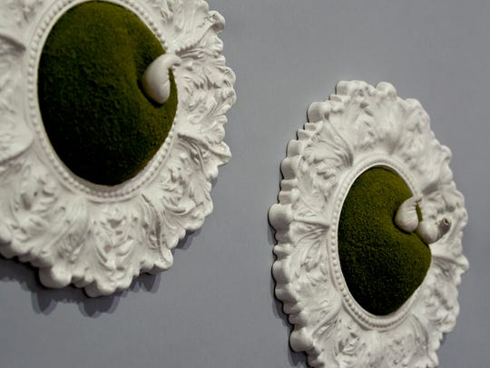 """Works by artist Amy Chase in the exhibit """"Incommunicado"""" at the Green Building Gallery."""
