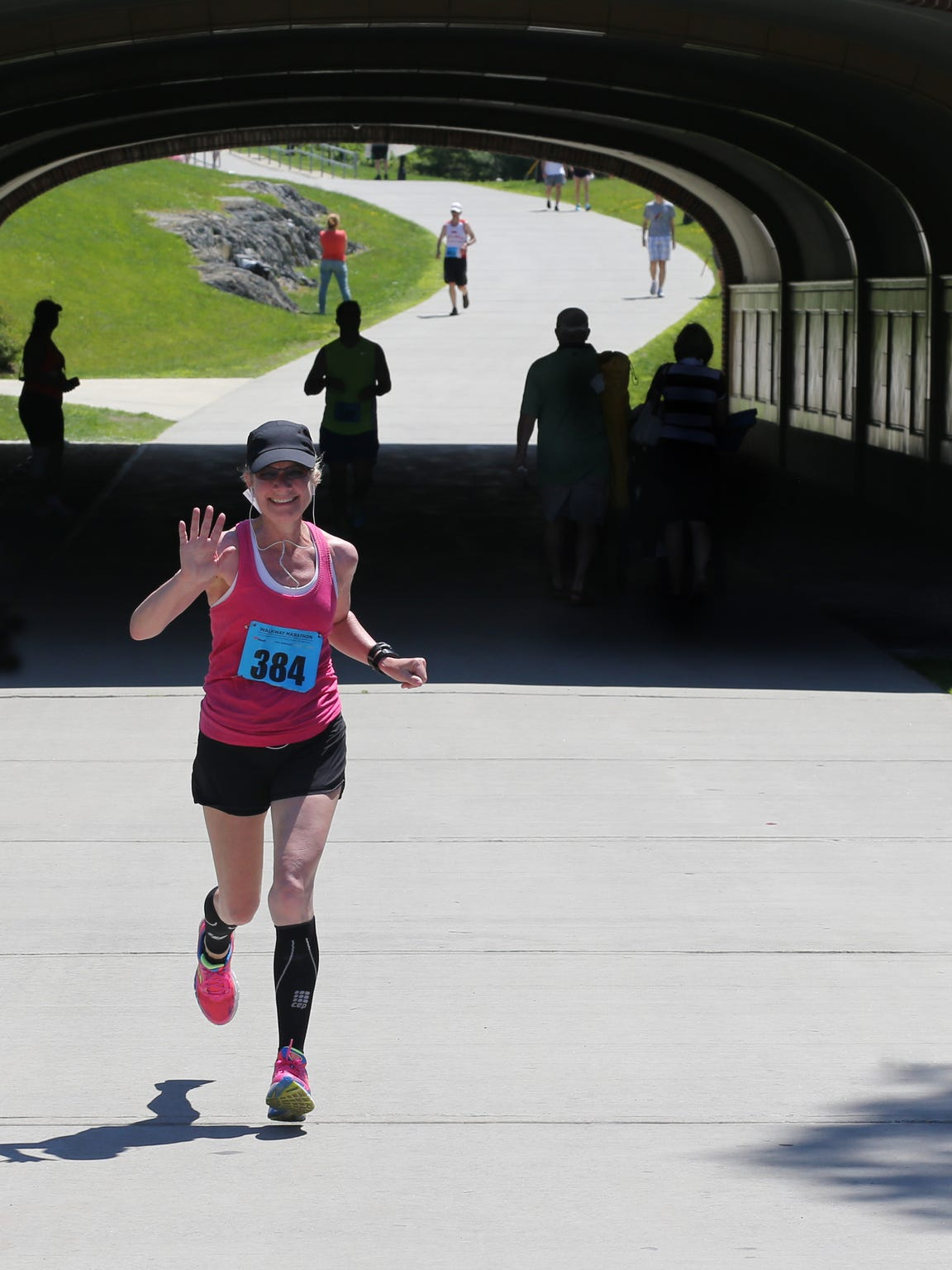 Michelle Zechman heads to the finish of the Walkway Marathon in Poughkeepsie, N.Y., where she qualified for the Boston Marathon.