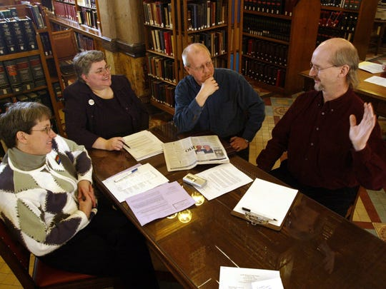 From left, Robin Butler, Janelle Rettig, Bill Musser and Otter Dreaming gather at the Capitol to lobby against three pending resolutions. Butler and Rettig were married in Canada last year. Musser and Dreaming were joined in a civil union in Vermont in 2002.