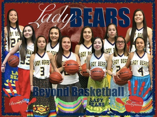 This photo of the Box Elder girls' basketball team is dedicated to the plight of Missing and Murdered Indigenous Women. Team members (back row, left to right): Lilly Gopher, Brittany LaFromboise, Tallen Oats, Maia Henderson, Eve The Boy, Cecelia Vielle; (front row) Sarah Parisian, Zayna Henderson, Maddie Wolf Child, Joelnell Momberg, Nikayla Anderson.