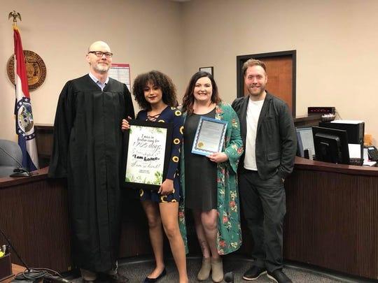Greene County Judge Andy Hosmer with Xana, Racheal and Jarreth Hunt.