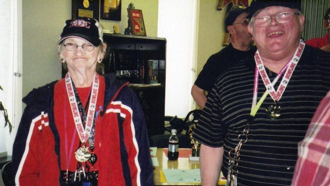 Betty Heinemann, left, and Earl Brown were honored as medalist winners at the annual RCS bowling league awards banquet in May.