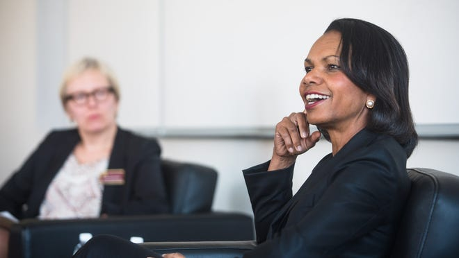 Former Secretary of State Condoleezza Rice speaks to University of Minnesota graduate students and faculty during a small group discussion Thursday afternoon, April 17, 2014, in Minneapolis. (AP Photo/The Minnesota Daily, Amanda Snyder) ORG XMIT: MNMID101