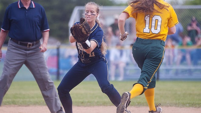 Essex second baseman Kylie Svarczkopf catches the ball at first in time for the put out during the Division I high school softball semifinals earlier this month.