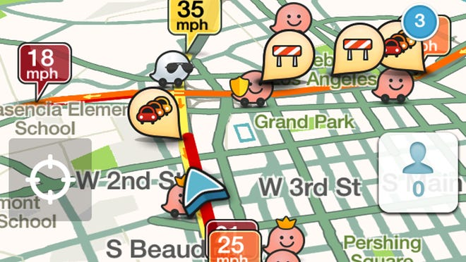 This cell phone screen capture shows traffic alerts along a route displayed on a cell phone app called Waze, in Los Angeles on Monday, Nov. 24, 2014. Whether traveling by plane, train or automobile, getting from Point A to Point B can be a headache. Technology provides relief in the form of apps that can let you know which roads are clogged, how long the wait is at the airport and whether the trains are running on time. (AP Photo/WAZE)