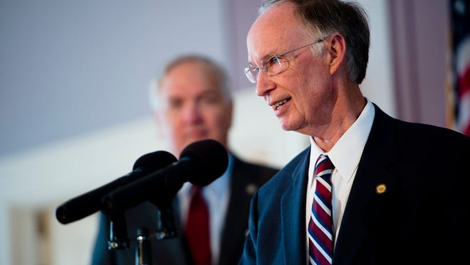 Gov. Robert Bentley announces the states settlement with BP over they 2010 oil spill in the Gulf of Mexico on Thursday, July 2, 2015, at the Capitol building in Montgomery, Ala.