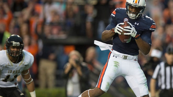 Auburn Tigers wide receiver Ricardo Louis was selected in the fourth round of the 2016 NFL draft by the Cleveland Browns. In this file photo, Louis (5) catches a touchdown pass during the NCAA football game between Auburn and Idaho on Saturday, Nov. 21, 2015, at Jordan-Hare Stadium in Auburn, Ala.