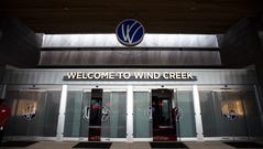 The front doors on opening day of the Wind Creek Montgomery