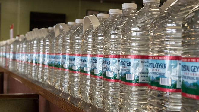Bottled waters lines up at B.C.P.D. Pizza on Tuesday.