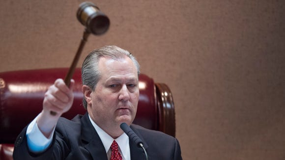Alabama Speaker of the House Mike Hubbard pounds the gavel marking the end of the first day of the 2016 legislative session on Tuesday, Feb. 2, 2016, at the State House building in Montgomery, Ala.