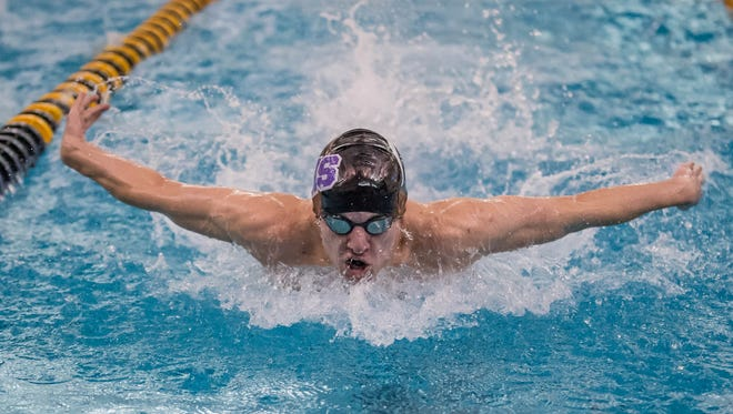 Lakeview's Parker Sprau swims in the 200 Yard IM at the SMAC Championships Prelims on Friday.